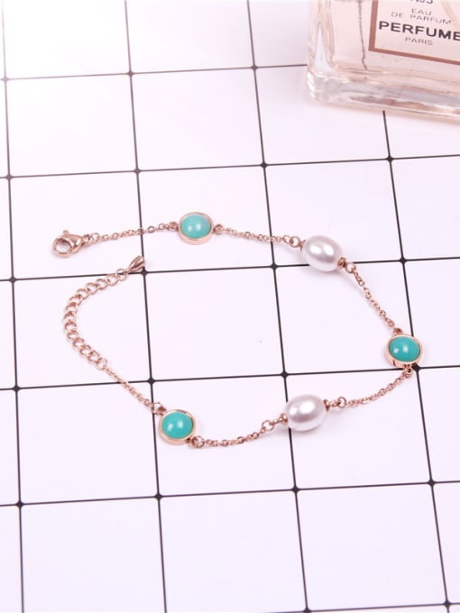 Rose Temperament Shell Pearls Women Anklet 0