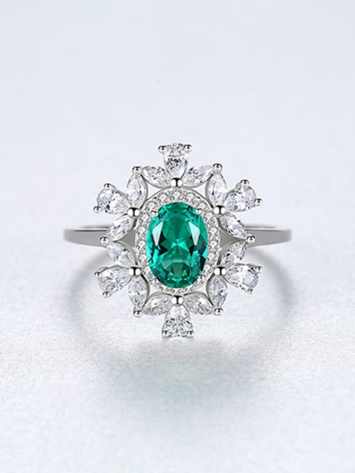 Green 925 Sterling Silver With Sapphire Luxury Flower Solitaire Rings