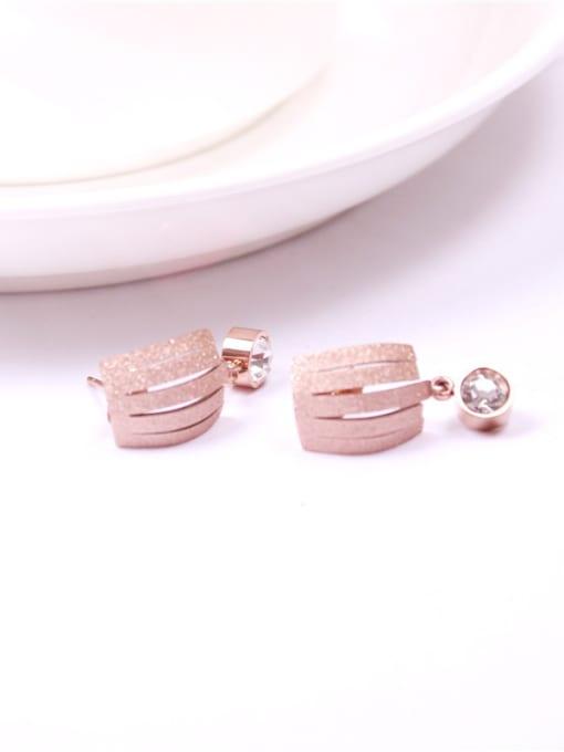 Rose Zircons Temperament Korean Stud Earrings 0