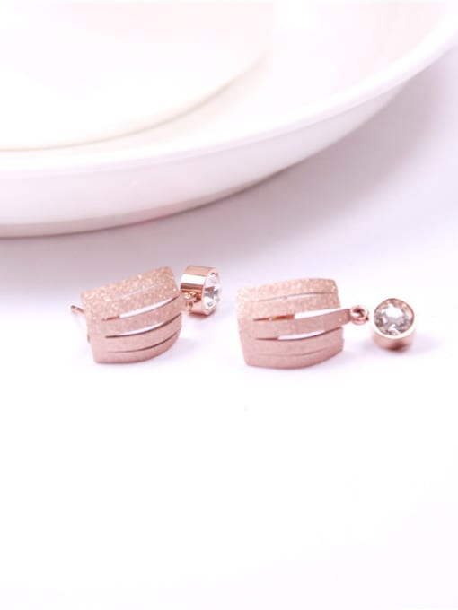 Rose Zircons Temperament Korean Stud Earrings