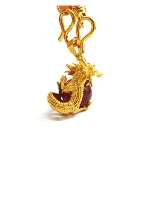 Red Men Exquisite Dragon Shaped Stone Pendant