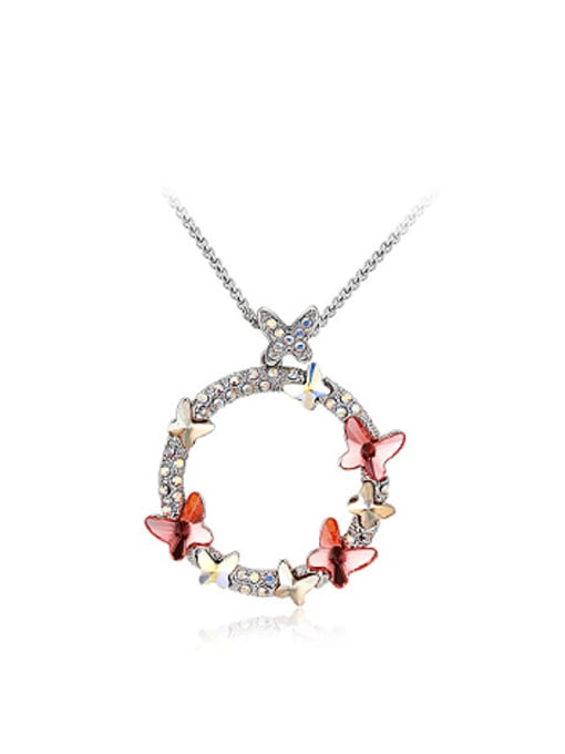 Red Austria Crystals Butterfly Round Necklace