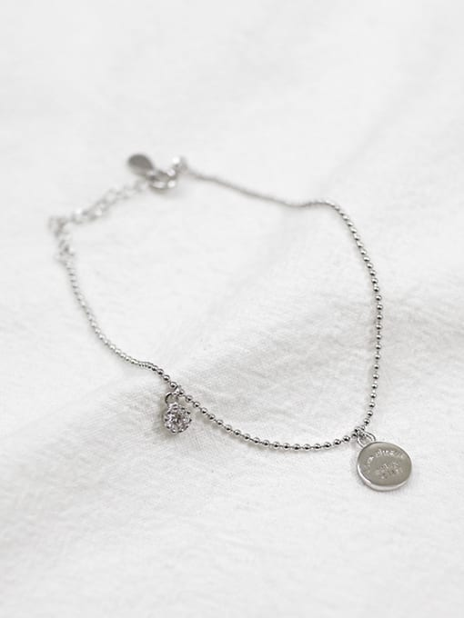 Dak Phoenix 925 Sterling Silver With Platinum Plated Personality English round tag beads Bracelets