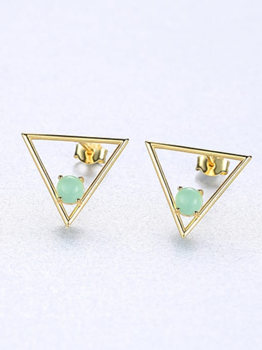 green 925 Sterling Silver With Opal Simplistic Triangle Stud Earrings