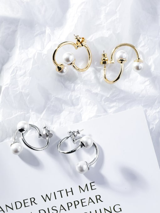 Girlhood Alloy With Gold Plated Fashion Geometric  Imitation Pearl Stud Earrings 0