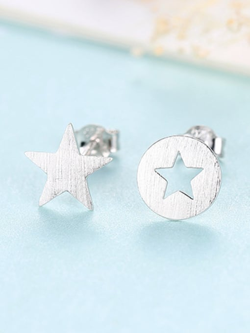 sliver 925 Sterling Silver With  Glossy Simplistic Stars moon asymmetry  Stud Earrings