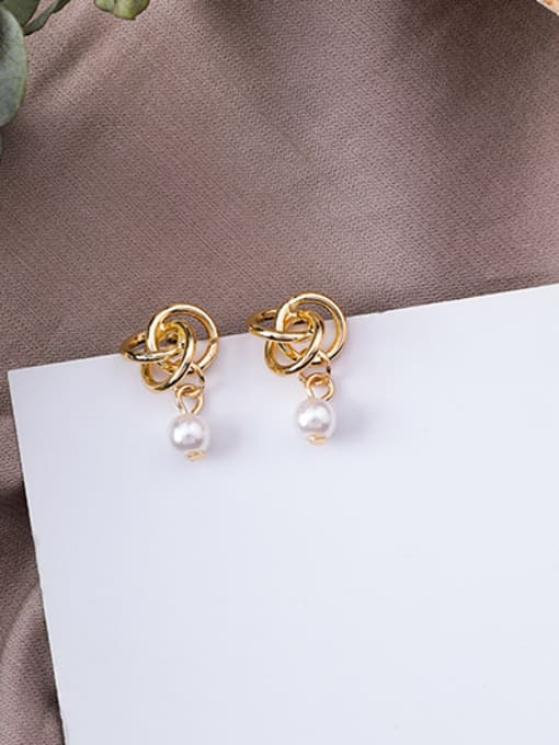 A Alloy With Gold Plated Trendy Bowknot Imitation Pearl Drop Earrings