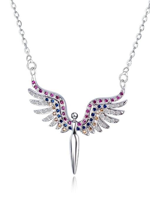 Open Sky Copper With White Gold Plated Fashion Angel wing Necklaces