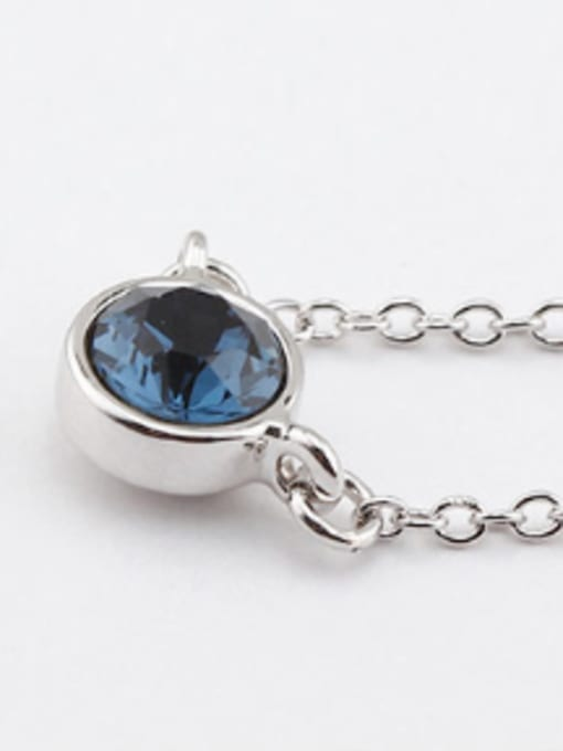 royal blue Simple Round Austria Crystal Necklace