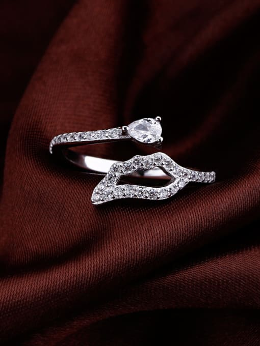 OUXI Simple Zircon Silver Opening Ring 1