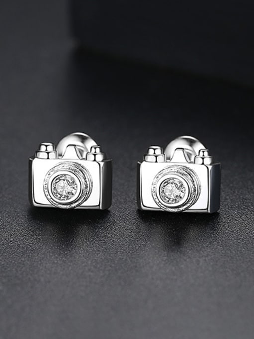 Platinum-T02C22 Copper With 18k Gold Plated Personality camera Stud Earrings