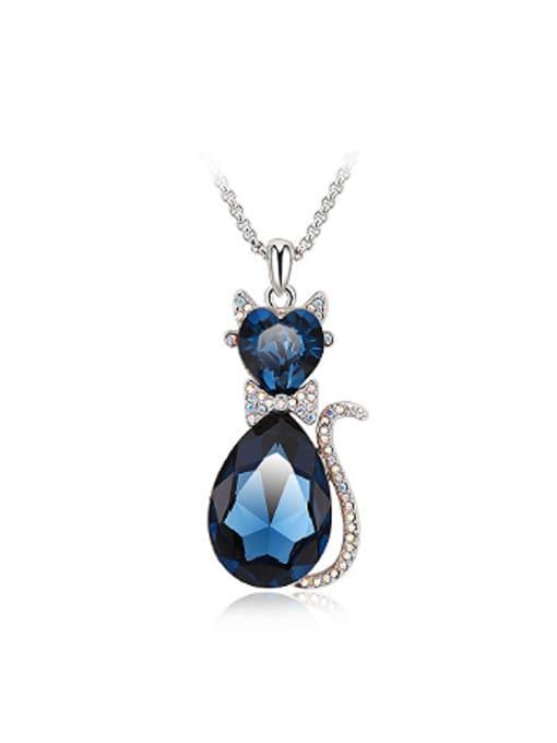royal Blue Fashion Austria Crystals Rhinestones Cat Necklace