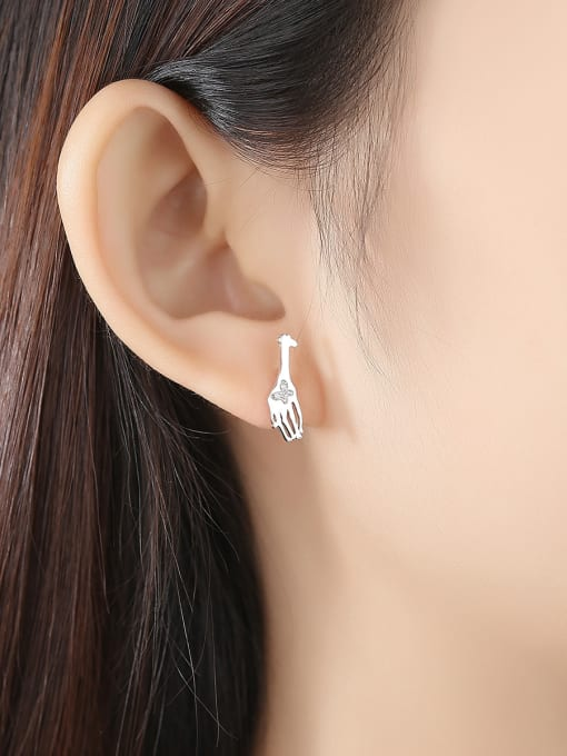 CCUI 925 Sterling Silver With Cubic Zirconia Cute Animal giraffe Stud Earrings 1