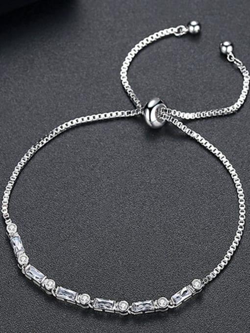 platinum-T14B19 Copper With 18k Gold Plated Fashion Geometric Cubic Zirconia Bracelets