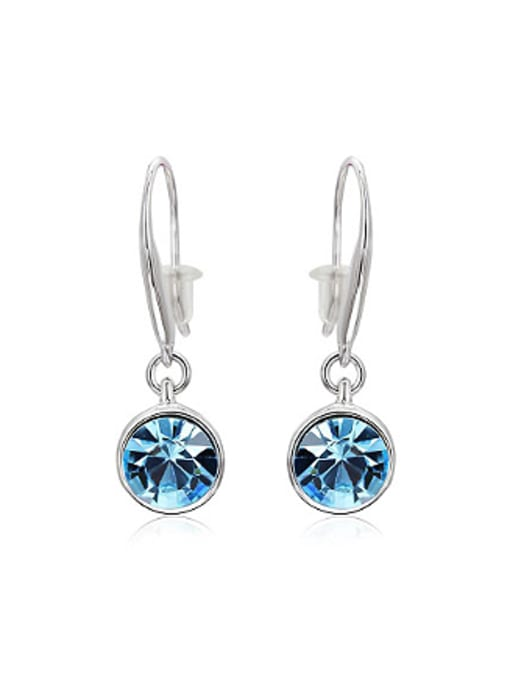 OUXI Fashion Blue Round Crystal Earrings