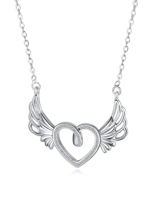 Open Sky Copper With White Gold Plated Fashion Heart with wing Necklaces