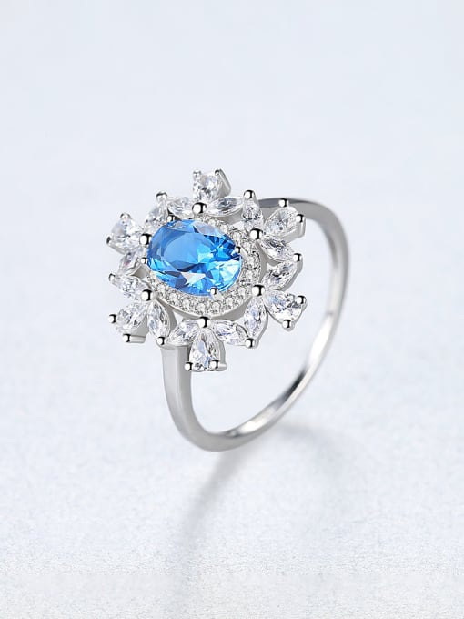 CCUI 925 Sterling Silver With Sapphire Luxury Flower Solitaire Rings 3