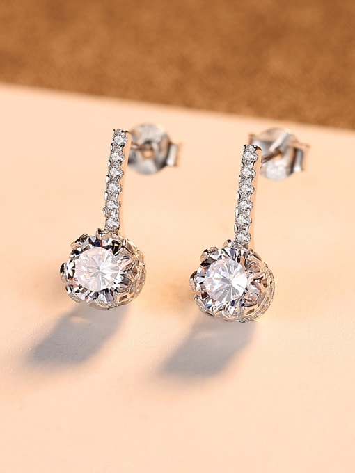 CCUI 925 Sterling Silver With  Cubic Zirconia  Cute Round Stud Earrings 2