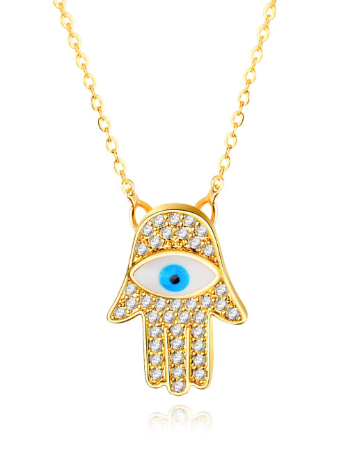 458-Gold-plated Copper With 18k Gold Plated Personality Evil Eye Necklaces