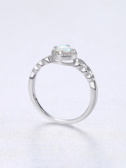 CCUI 925 Sterling Silver With Opal  Simplistic Round Band Rings 3