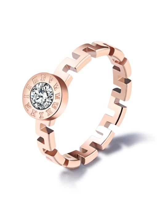 Open Sky Stainless Steel With Rose Gold Plated Fashion The Great Wall pattern Rings 0