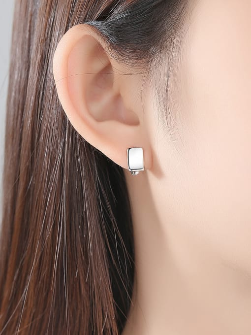 BLING SU Copper With Gold Plated Simplistic Geometric Stud Earrings 1