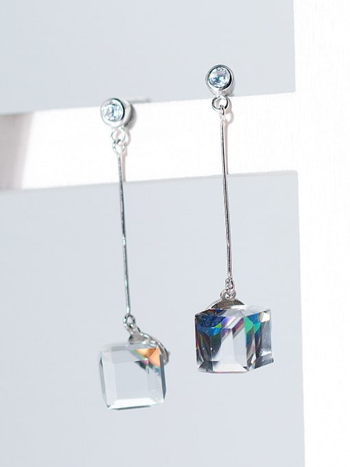 Rosh Temperament Square Shaped Crystal S925 Silver Drop Earrings 1