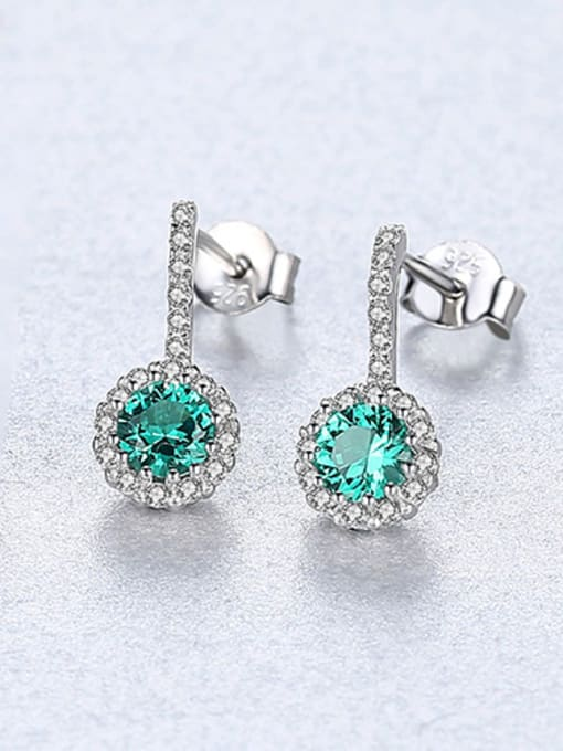 Green 925 Sterling Silver With Cubic Zirconia Cute Round Stud Earrings