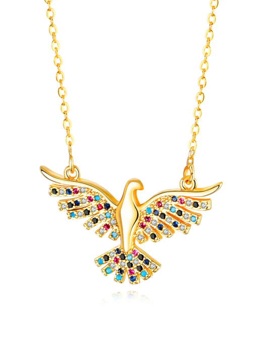 716-Gold Copper With 18k Gold Plated Fashion A great hawk spreads its wings Necklaces