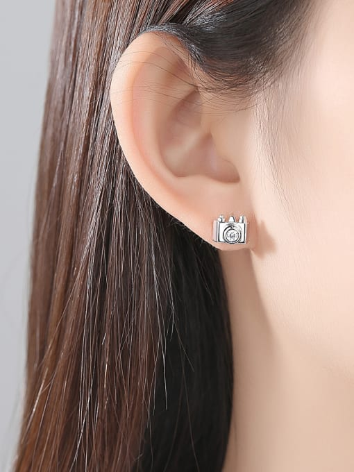 BLING SU Copper With 18k Gold Plated Personality camera Stud Earrings 1