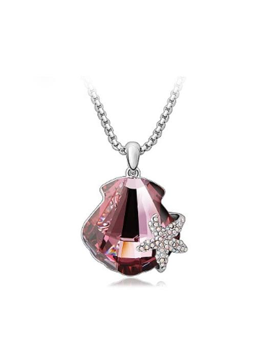Purple Fashion Starfish Scallop Austria Crystal Necklace