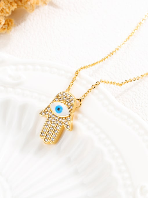 Open Sky Copper With 18k Gold Plated Personality Evil Eye Necklaces 2