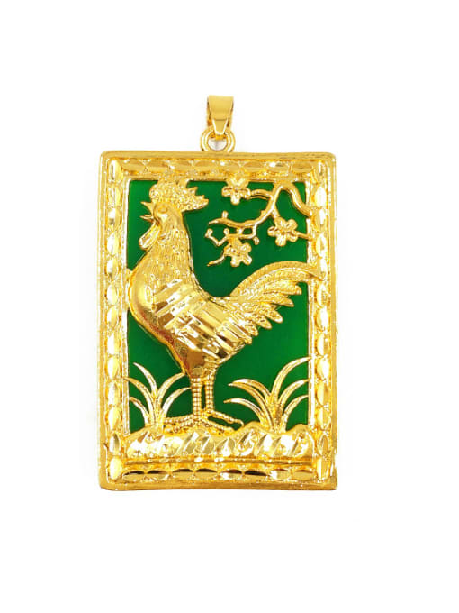 D Square Shaped Chicken Pattern Pendant