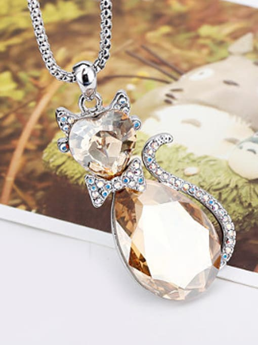 OUXI Fashion Austria Crystals Rhinestones Cat Necklace 2