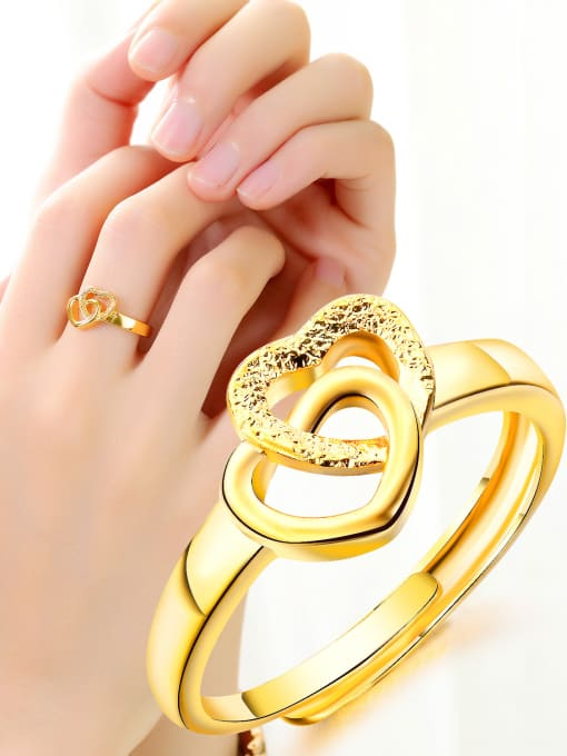 gold Copper With 18k Gold Plated Fashion Heart Wedding Rings