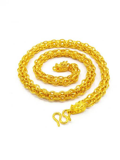 golden Men Double Dragon Brass Necklace