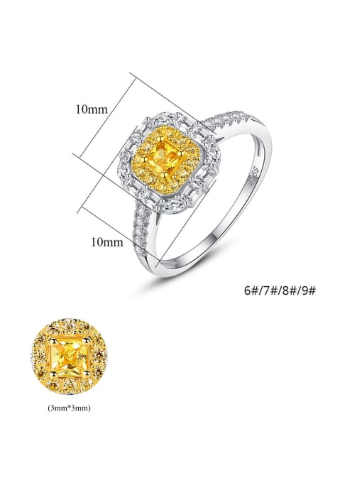 CCUI 925 Sterling Silver With Cubic ZirconiaDeli cate Square Solitaire Rings 4