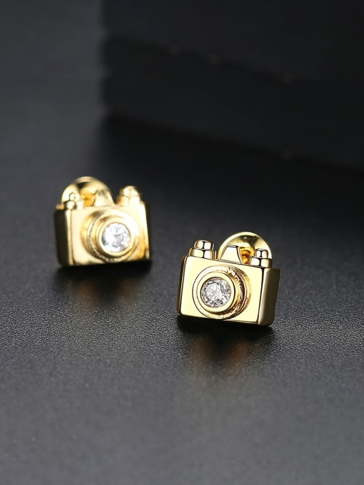 BLING SU Copper With 18k Gold Plated Personality camera Stud Earrings 0