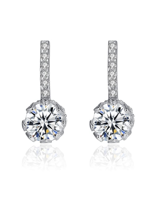 CCUI 925 Sterling Silver With  Cubic Zirconia  Cute Round Stud Earrings 0
