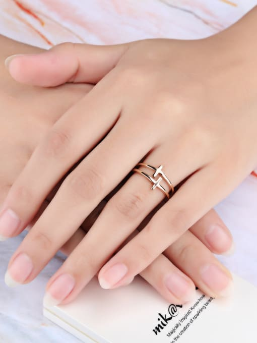 Open Sky Stainless Steel With Rose Gold Plated Fashion Cross Rings 1