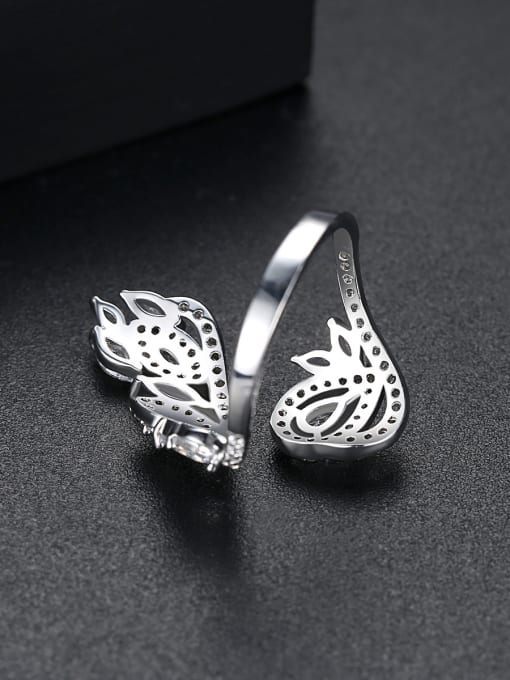 BLING SU Copper With Platinum Plated Exaggerated Flower Cubic Zirconia Statement Rings 3