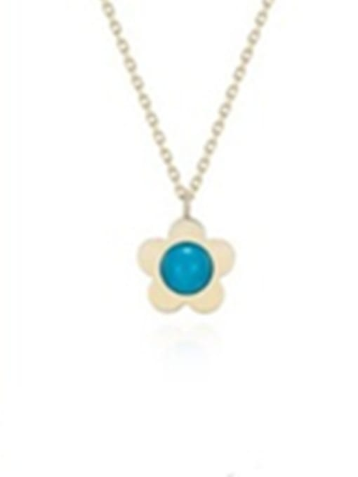 Rose Flower Pendant Blue Stone Necklace 0