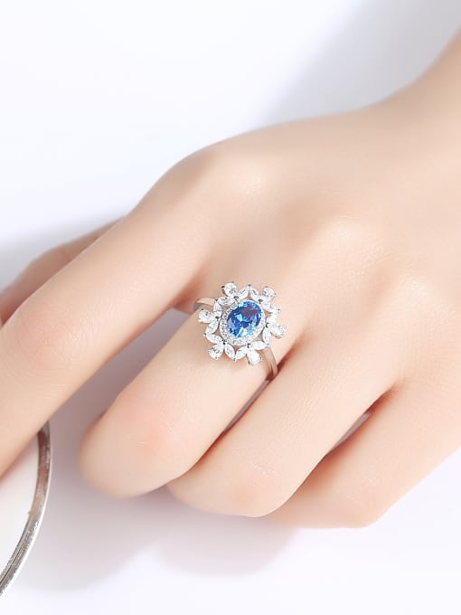 CCUI 925 Sterling Silver With Sapphire Luxury Flower Solitaire Rings 1