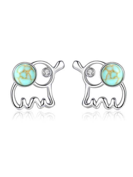 CCUI 925 Sterling Silver WithTurquoise Cute Animal Elephant Stud Earrings