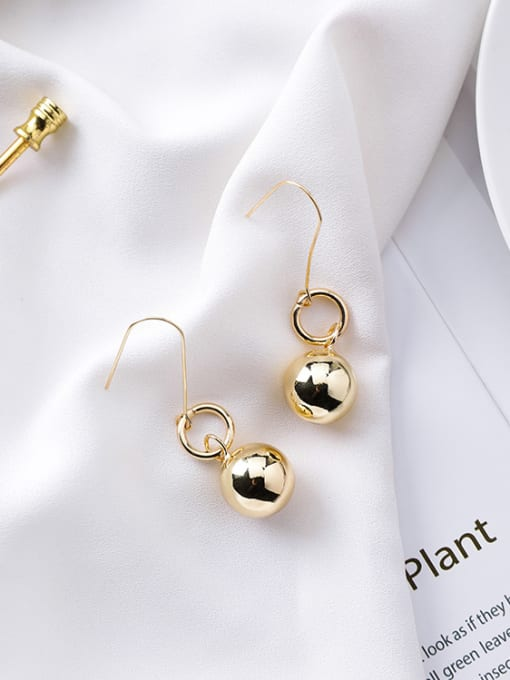 Girlhood Alloy With Gold Plated Casual Ball Drop Earrings