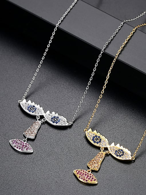BLING SU Copper With White Gold Plated Exaggerated Statement Necklaces 2