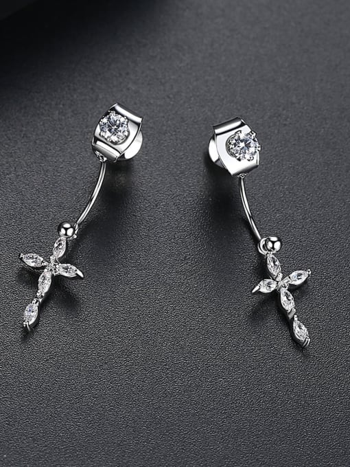 BLING SU Copper With Platinum Plated Delicate Cross Stud Earrings 2