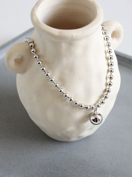 Dak Phoenix 925 Sterling Silver With Platinum Plated Simplistic beads Anklets 2