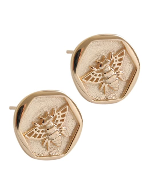 Dak Phoenix 925 Sterling Silver With Champagne Gold Plated Cute Insect bee Stud Earrings 4