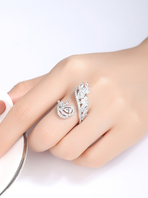 BLING SU Copper With Platinum Plated Exaggerated Flower Cubic Zirconia Statement Rings 1